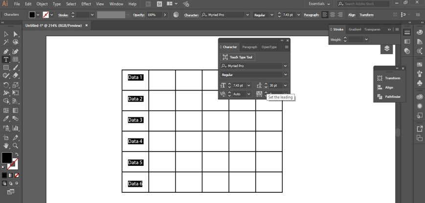 Create Table in Illustrator - 25
