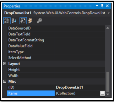 Drop Down List in ASP.NET step 3
