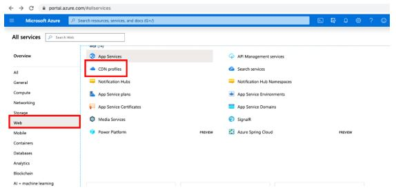 Go to All Services and select Web from left pane