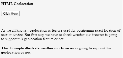 HTML Geolocation output 1