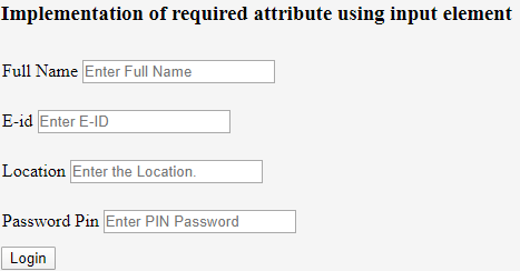 HTML Required Attributes - 1