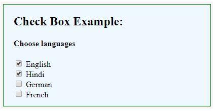 HTML checkbox Tag 3