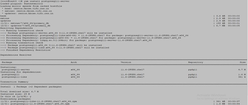 PostgreSQL DB server 1