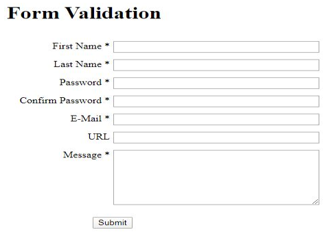 JQuery Form Validation output 1
