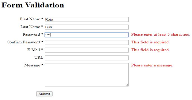 JQuery Form Validation output 4