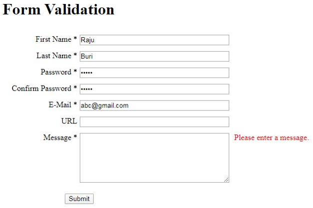 JQuery Form Validation output 8