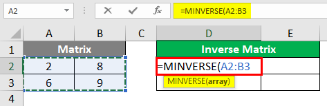 MINVERSE in Excel 1-5