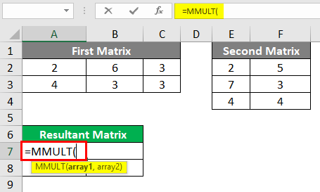 MMULT in excel 1-4