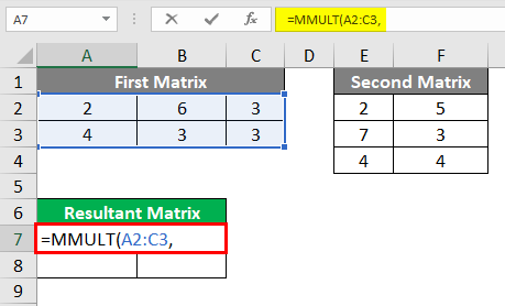 MMULT in excel 1-5