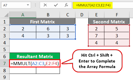MMULT in excel 1-7