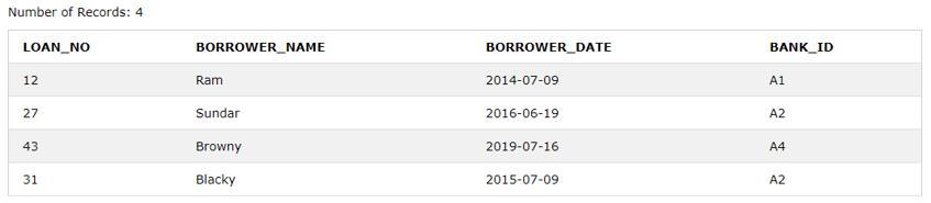 Borrower Table