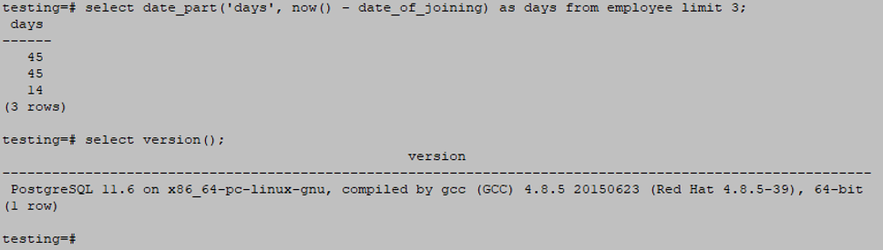 PostgreSQL Date Functions output 4