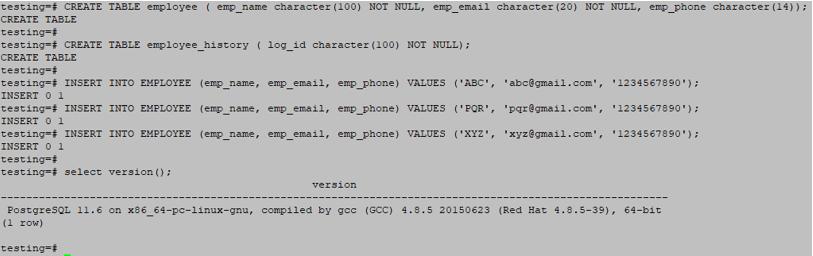 PostgreSQL Triggers output 1