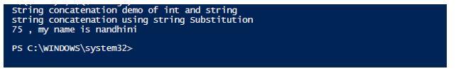 PowerShell Concatenate String 5