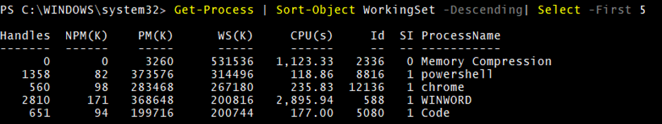 Sort-Object WorkingSet