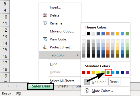 Change Worksheets Tab Color 2