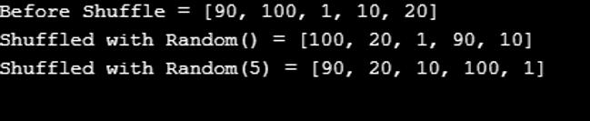 Shuffle() in Java-1.2