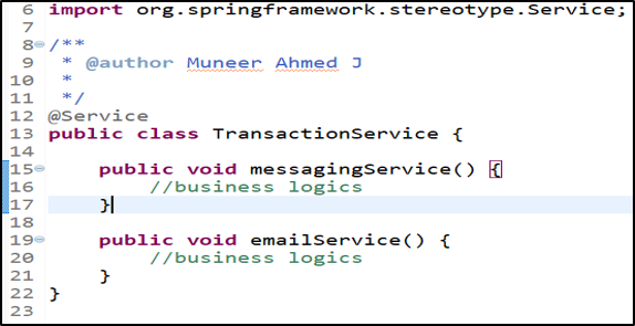 Spring AOP - Transaction Service 1