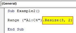 VBA Resize Example 2-3