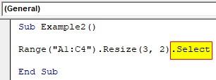VBA Resize Example 2-4