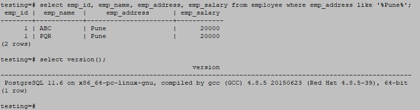 Wildcards in PostgreSQL output 2