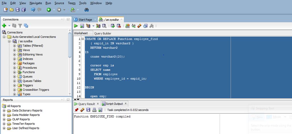 program in SQL developer