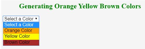 selected dropdown colorlist