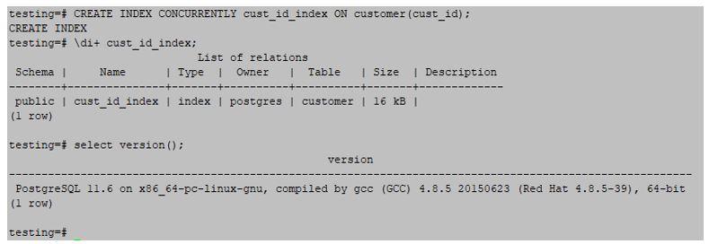 create index on customer id