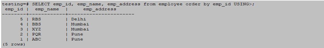 postgreSQL ORDERBY 10