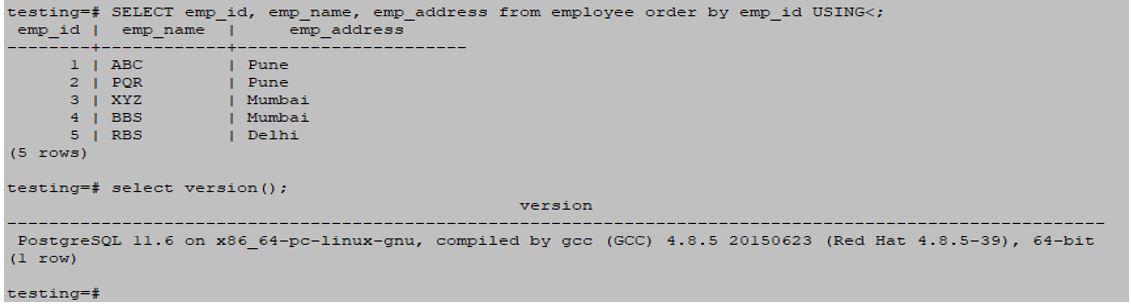 postgreSQL ORDERBY 11