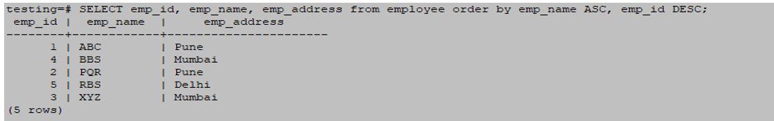 postgreSQL ORDERBY 5