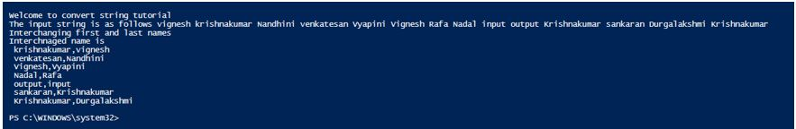 powershell convert to string output 1