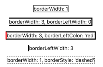 various combinations of border style