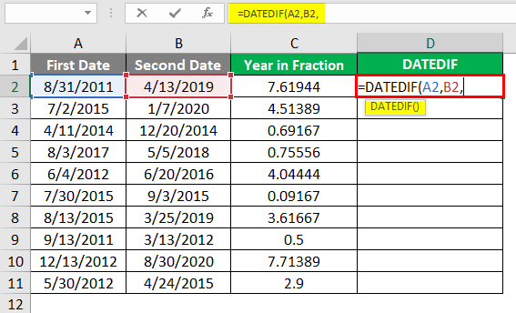 DATEDIF function 3-1