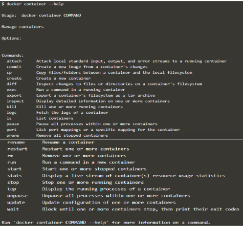 Docker Containers output 2