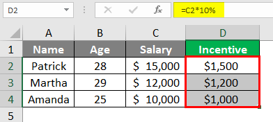 Incentive -excel 3-2