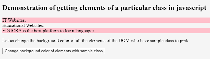JavaScript Get Element by Class 2