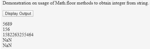 Using Math.floor() function