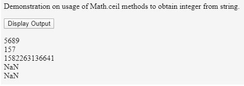 Using Math.ceil() function