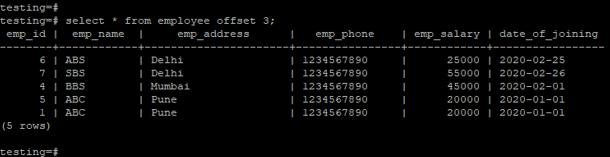PostgreSQL OFFSET - 2