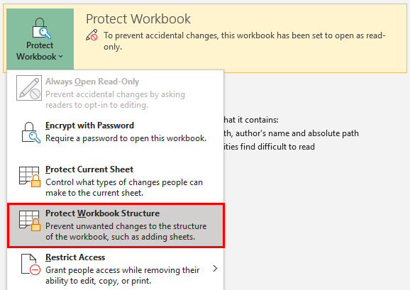 Protecting Workbook Structure