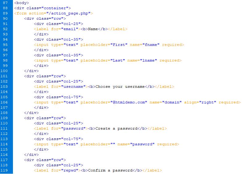 Registration Form in HTML-1.7