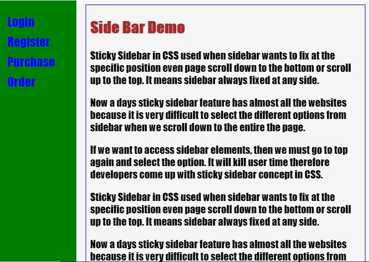 Sticky Sidebar CSS-1.1