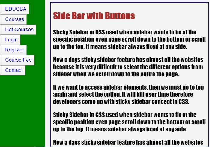 Sticky Sidebar CSS-2.1