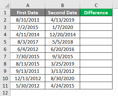 Subtract Date in Excel 1-1