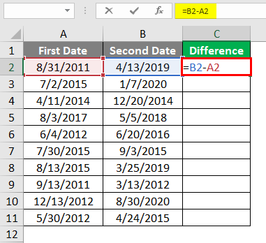 Subtract Date in Excel 1-2