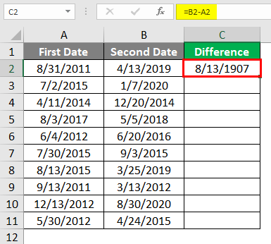 Subtract Date in Excel 1-3