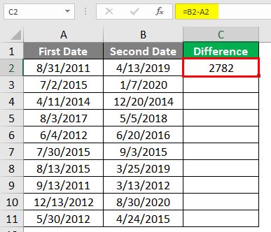 Subtract Date in Excel 1-4