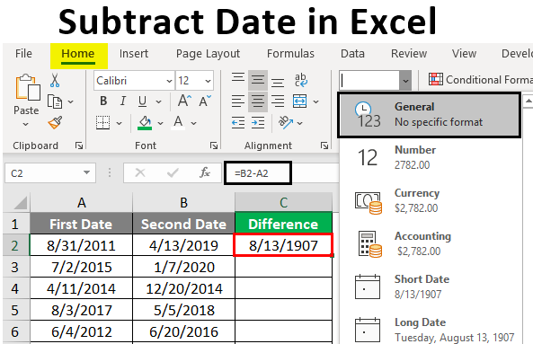 Subtract Date in Excel