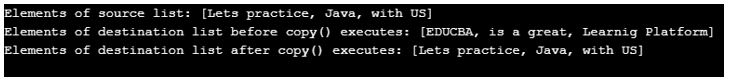 copy() in java 2